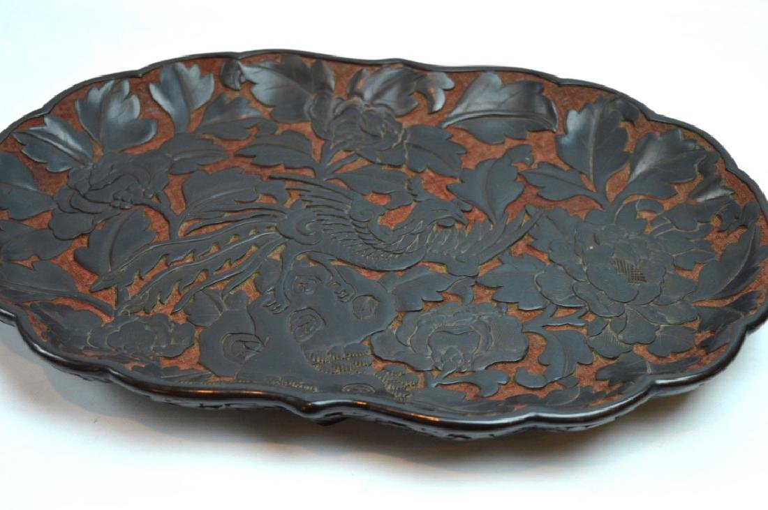Antique Chinese Red Cinnabar & Black Lacquer Tray - 5