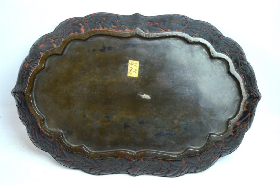 Antique Chinese Red Cinnabar & Black Lacquer Tray - 6