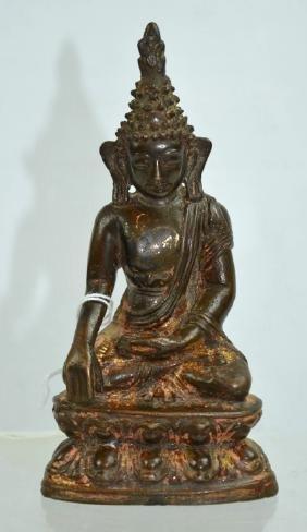 19th C Nepal; Seated Bronze Buddha