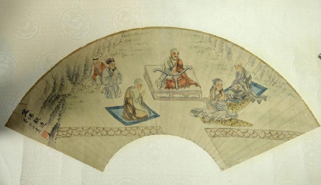 19th Century Chinese Silk Mounted Fan Painting