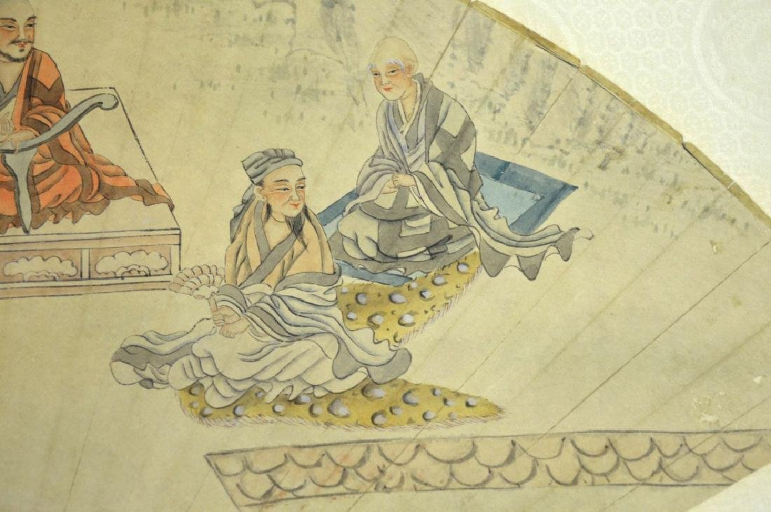 19th Century Chinese Silk Mounted Fan Painting - 2
