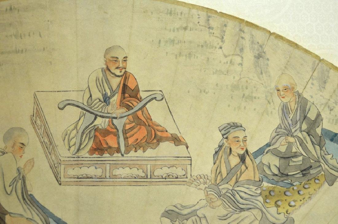 19th Century Chinese Silk Mounted Fan Painting - 3