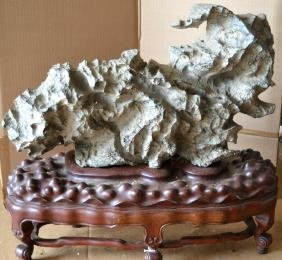 Fine Large Chinese Lingbi Scholar's Rock on Stand