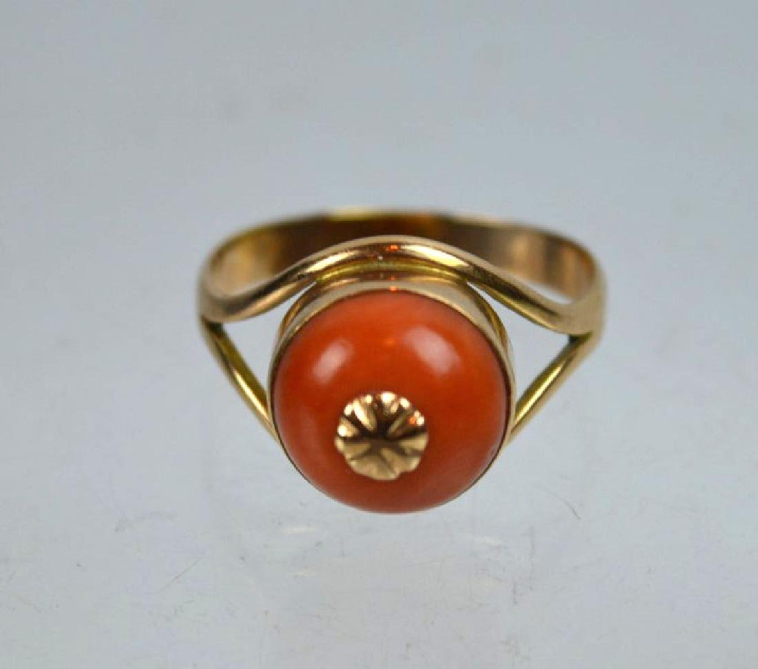 Antique Coral Bead in Gold Ring