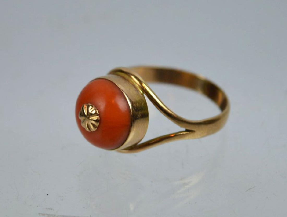 Antique Coral Bead in Gold Ring - 2