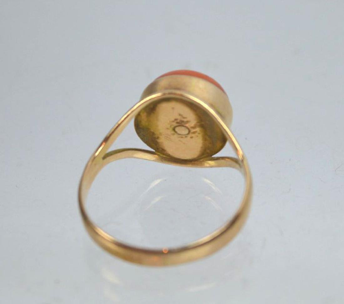 Antique Coral Bead in Gold Ring - 3