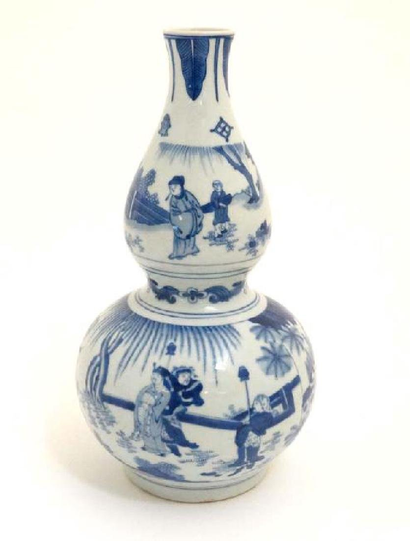 Chinese Blue & White Double Gourd Porcelain Vase