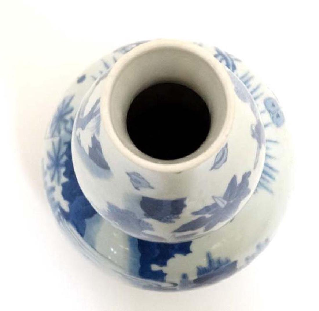 Chinese Blue & White Double Gourd Porcelain Vase - 3