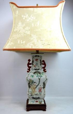 19thC Chinese Famille Rose Enameled Porcelain Vase