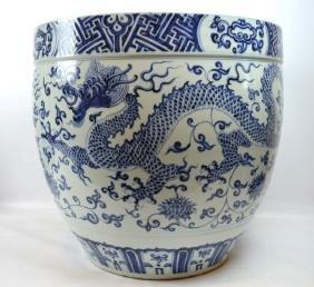 Large Chinese Blue & White Ming-Style Dragon Bowl