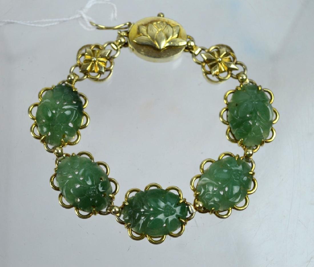 Chinese Green Hardstone Silver Gilt Bracelet