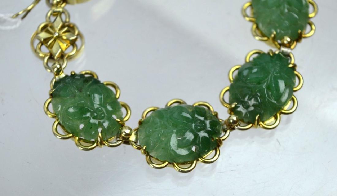 Chinese Green Hardstone Silver Gilt Bracelet - 2