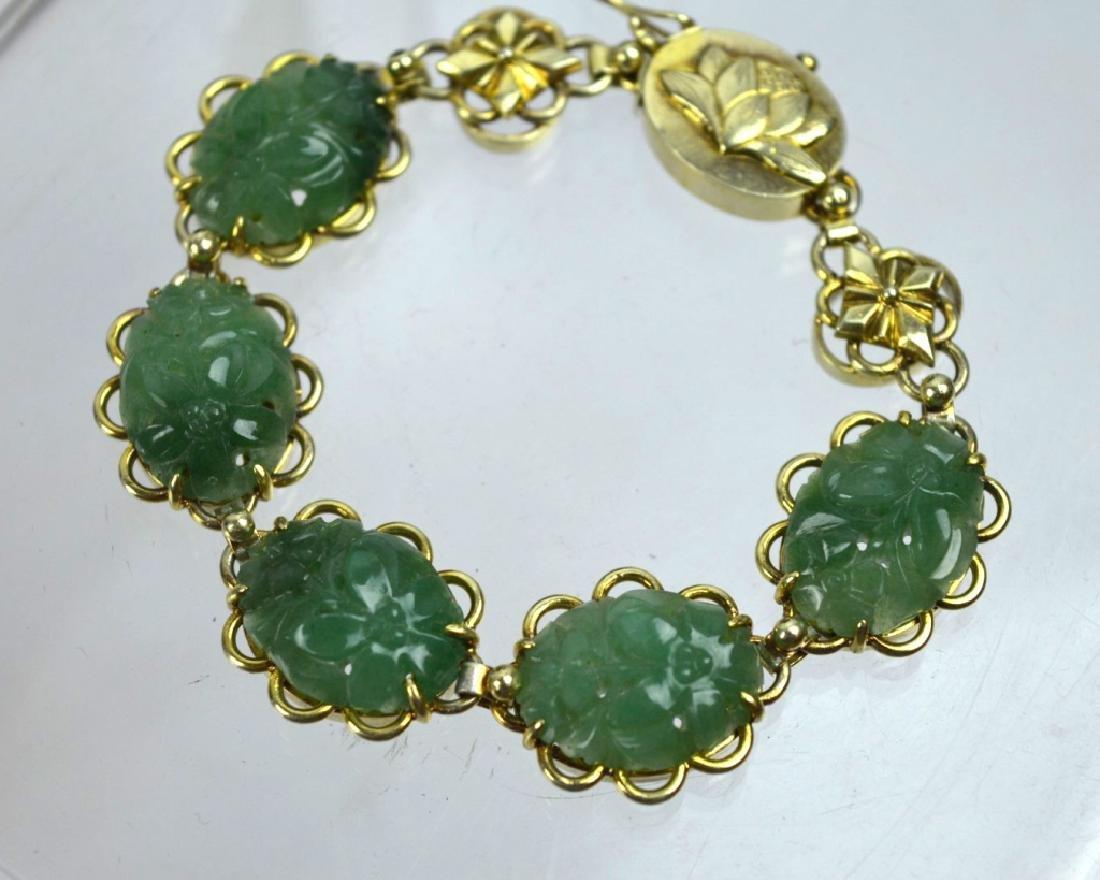 Chinese Green Hardstone Silver Gilt Bracelet - 3