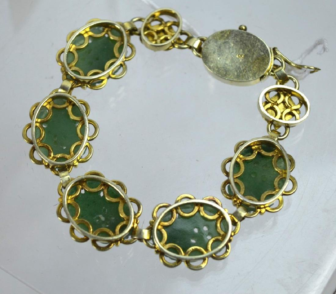 Chinese Green Hardstone Silver Gilt Bracelet - 4