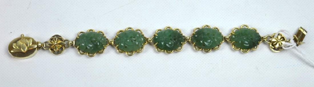 Chinese Green Hardstone Silver Gilt Bracelet - 5