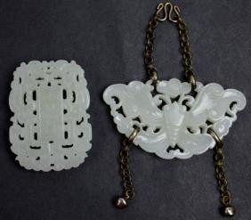 2 - Fine Chinese Carved White Jade Pendants
