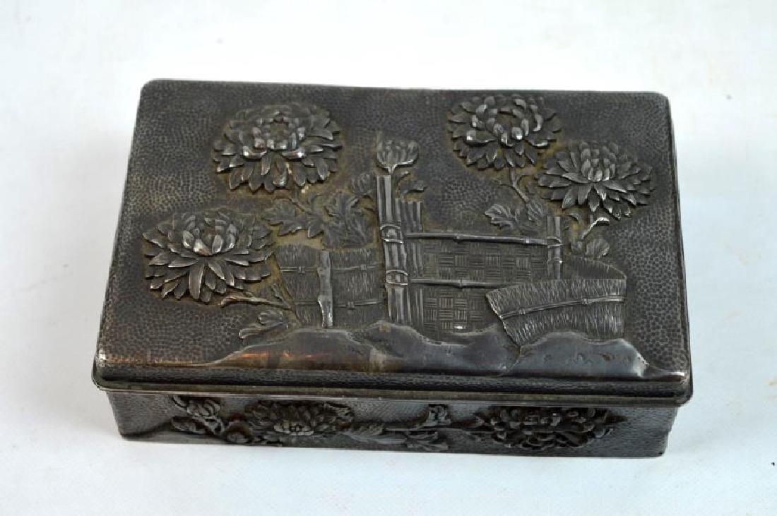 16.2 oz Japanese Silver Chrysanthemum Box