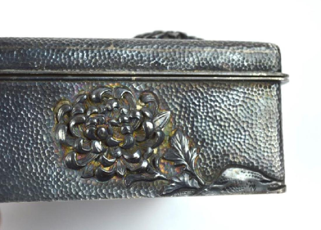 16.2 oz Japanese Silver Chrysanthemum Box - 6