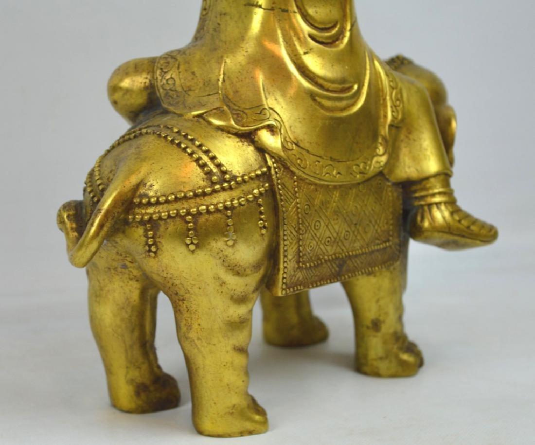 Large Tibetan Gilt Bronze Figure on Elephant - 6