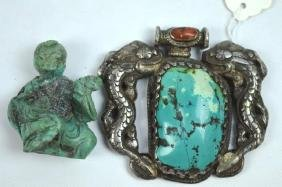 2 Chinese Turquoise Pieces; Figure & Pendant