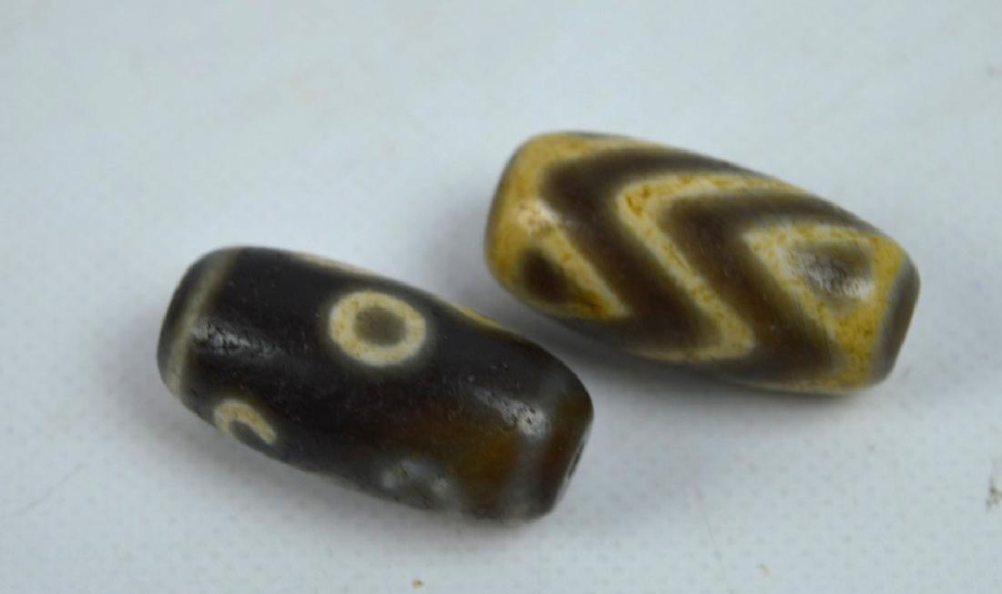 7 Antique Tibetan Dzi Beads - 3