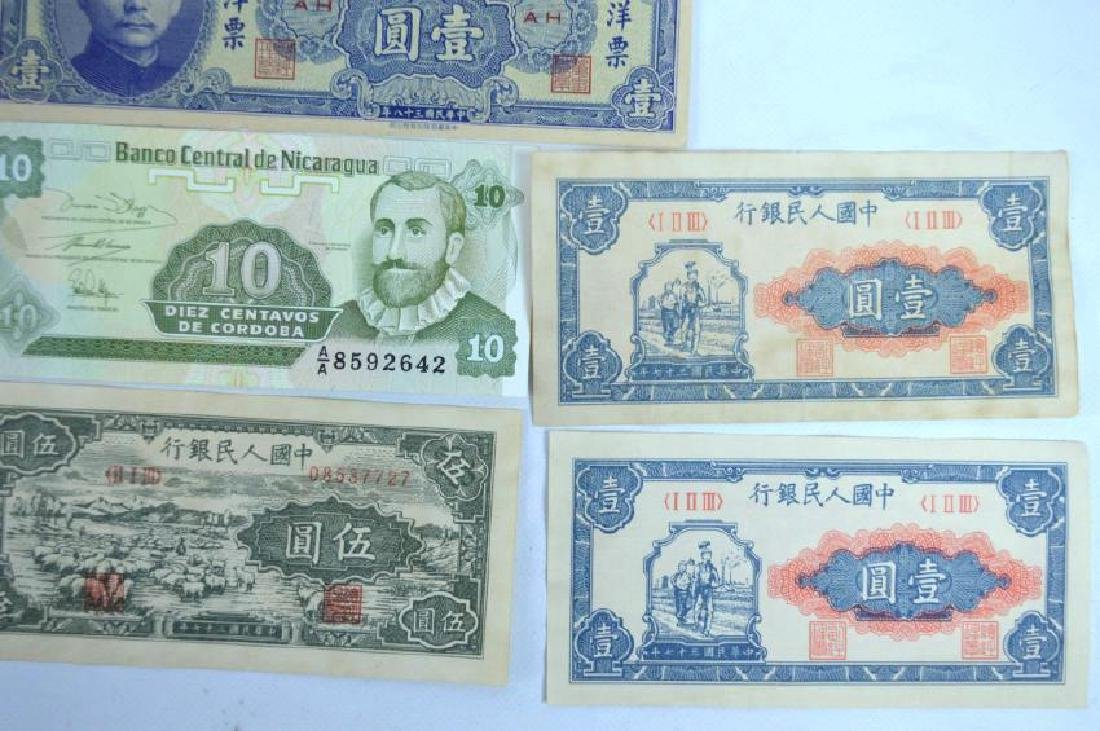 10 pieces - Chinese Paper Money; 1 Nicaragua - 4