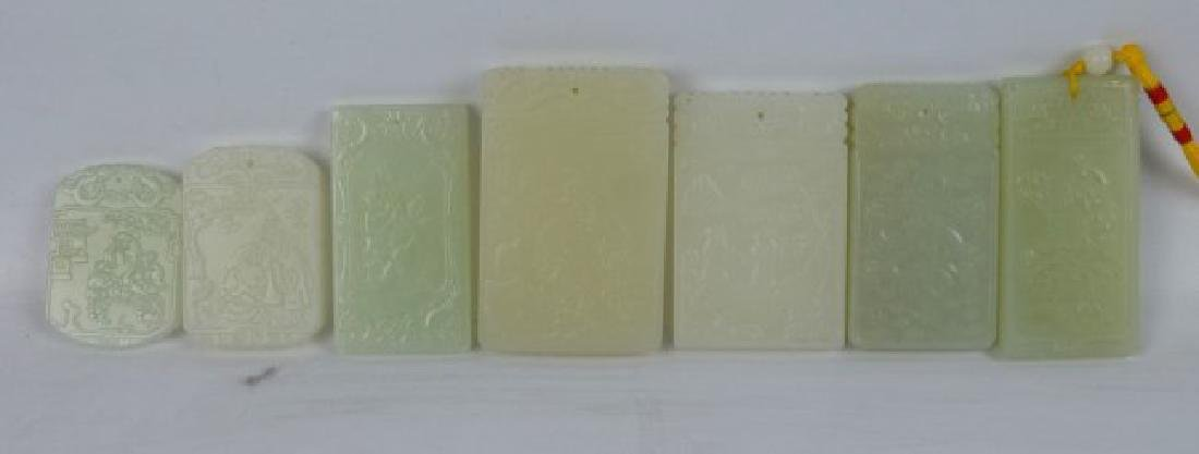 7 - Carved White & Pale Celadon Jade Plaques