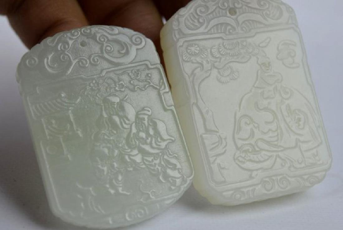 7 - Carved White & Pale Celadon Jade Plaques - 2
