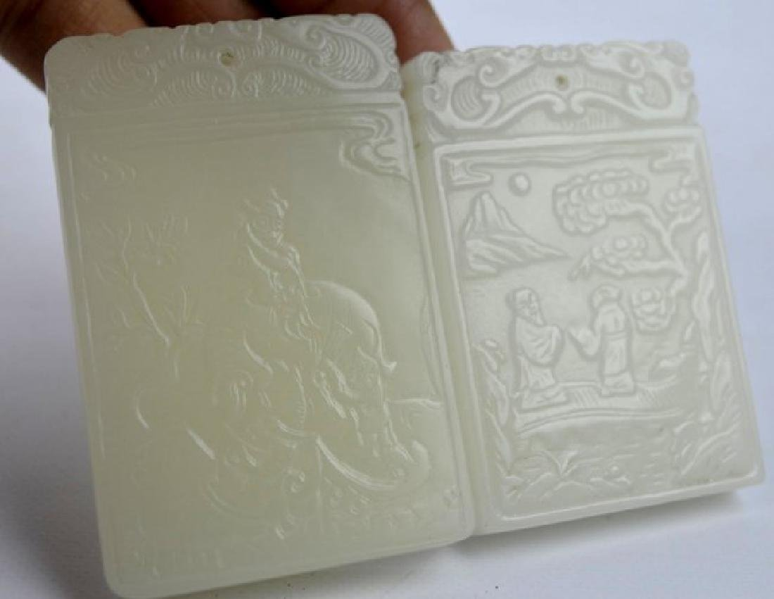 7 - Carved White & Pale Celadon Jade Plaques - 4