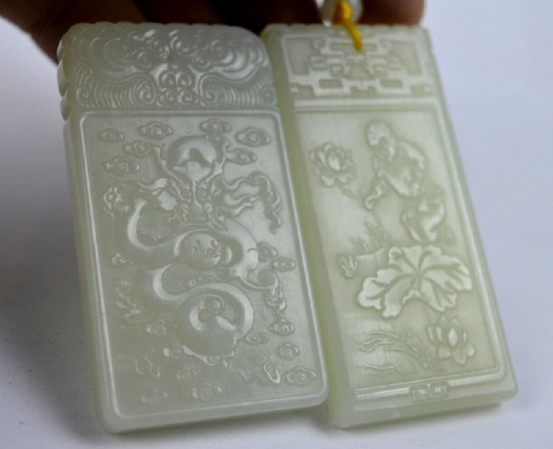 7 - Carved White & Pale Celadon Jade Plaques - 6