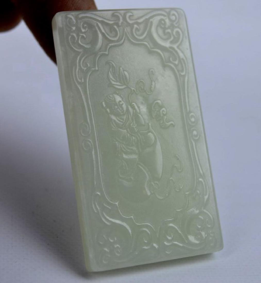 7 - Carved White & Pale Celadon Jade Plaques - 8