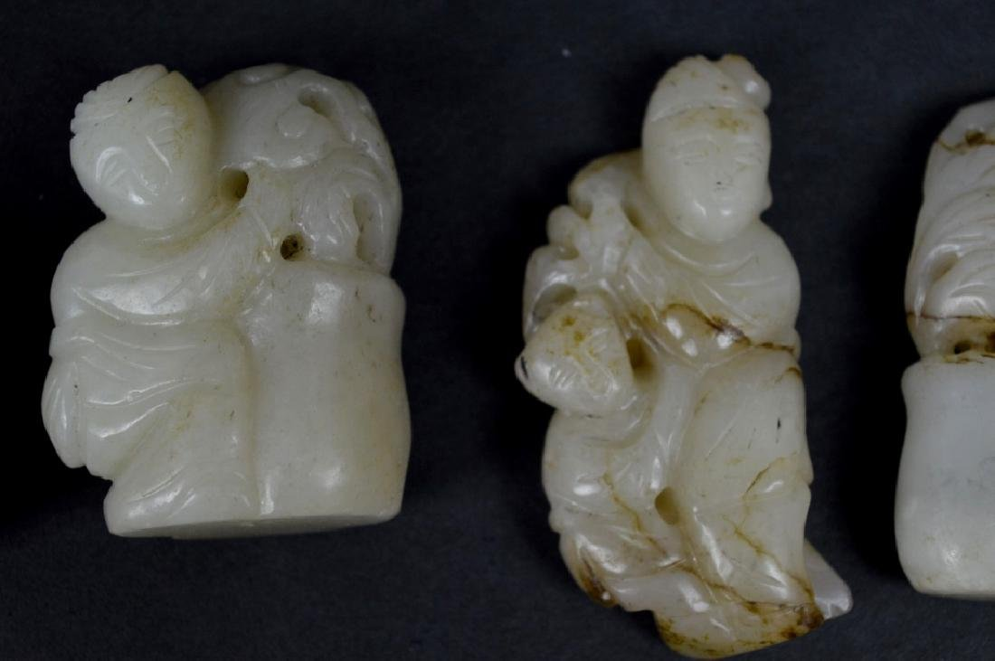8-Chinese Carved & Pierced Jade Plaques & Figures - 5