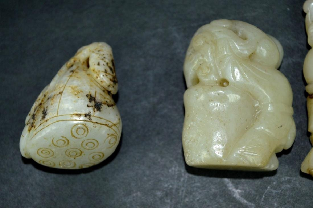 8-Chinese Carved & Pierced Jade Plaques & Figures - 8