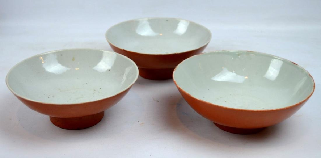 3 Good Chinese Coral Glazed Porcelain Bowls