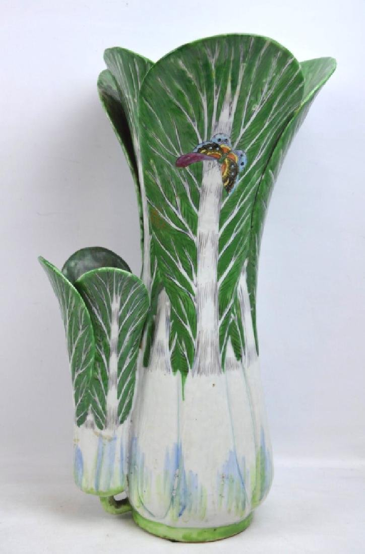 Rare Rose Medallion Butterfly & Cabbage Vase