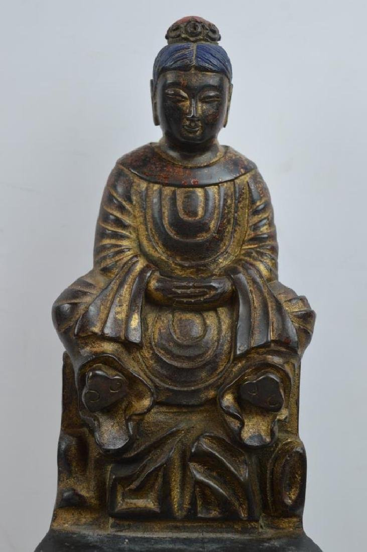 Chinese Bronze and Gilt Lacquer Seated Figure - 2