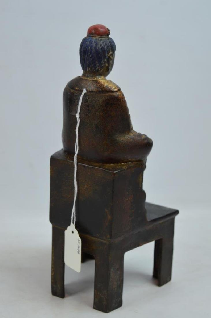 Chinese Bronze and Gilt Lacquer Seated Figure - 4
