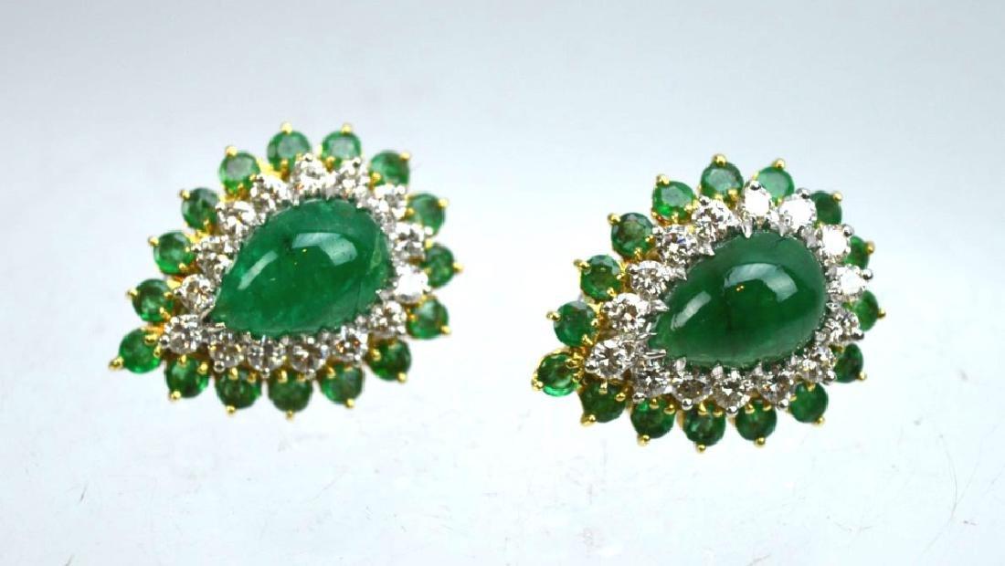 Pair Emerald, Diamond, 18K Gold Earrings