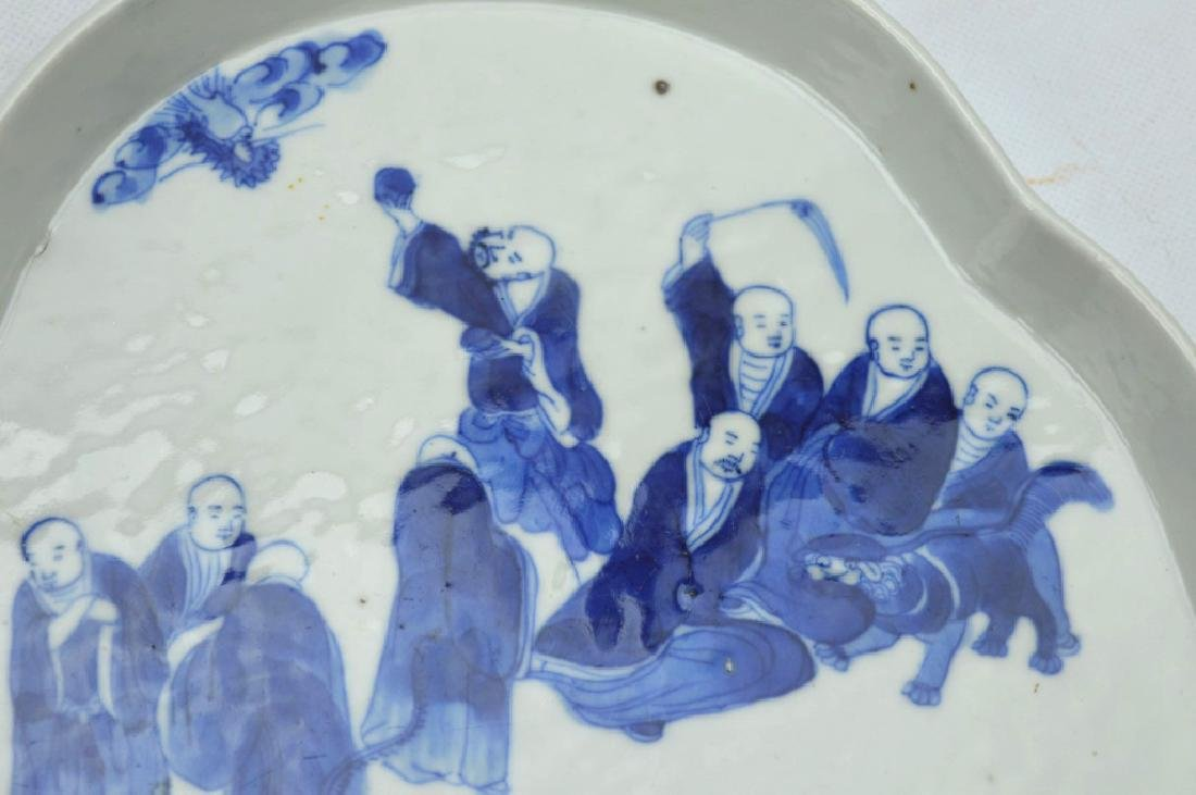 Chinese B & W Porcelain Tea Tray; 18 Lohan Design - 2