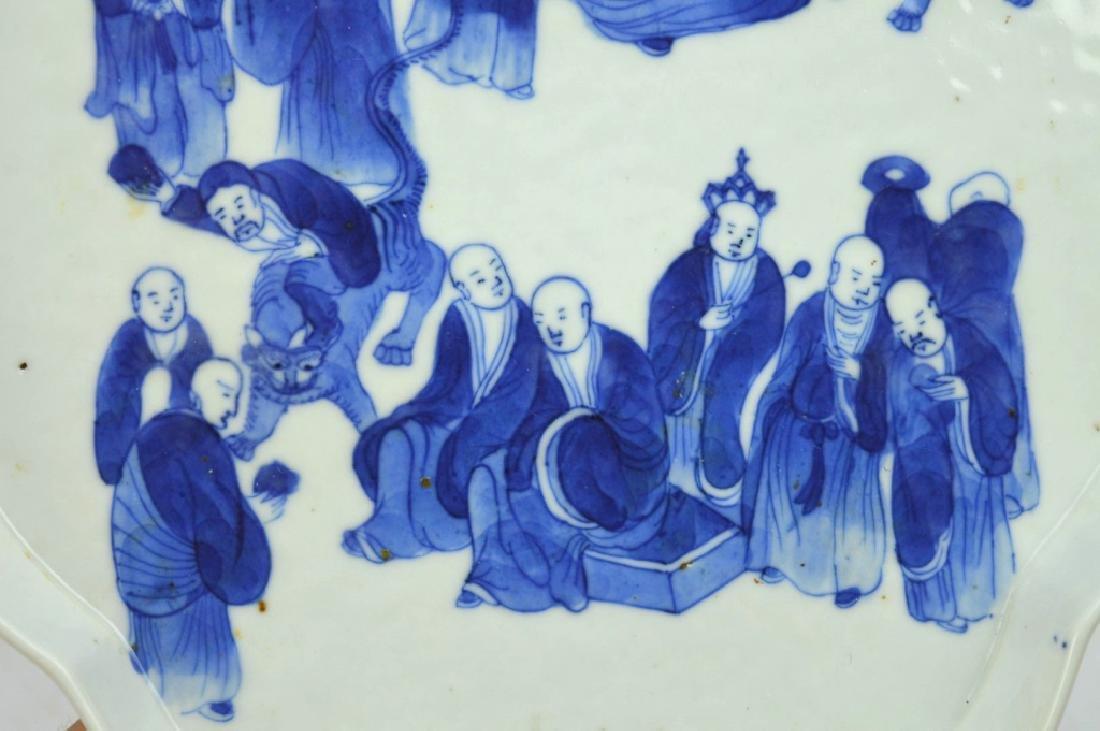 Chinese B & W Porcelain Tea Tray; 18 Lohan Design - 3