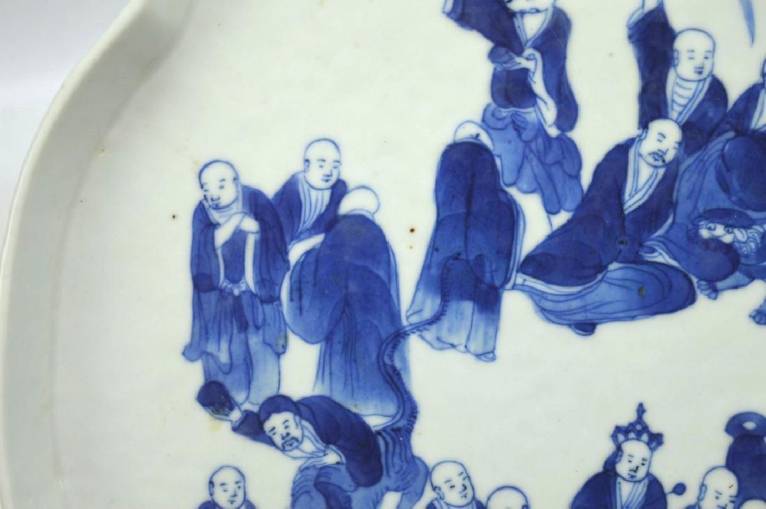 Chinese B & W Porcelain Tea Tray; 18 Lohan Design - 4