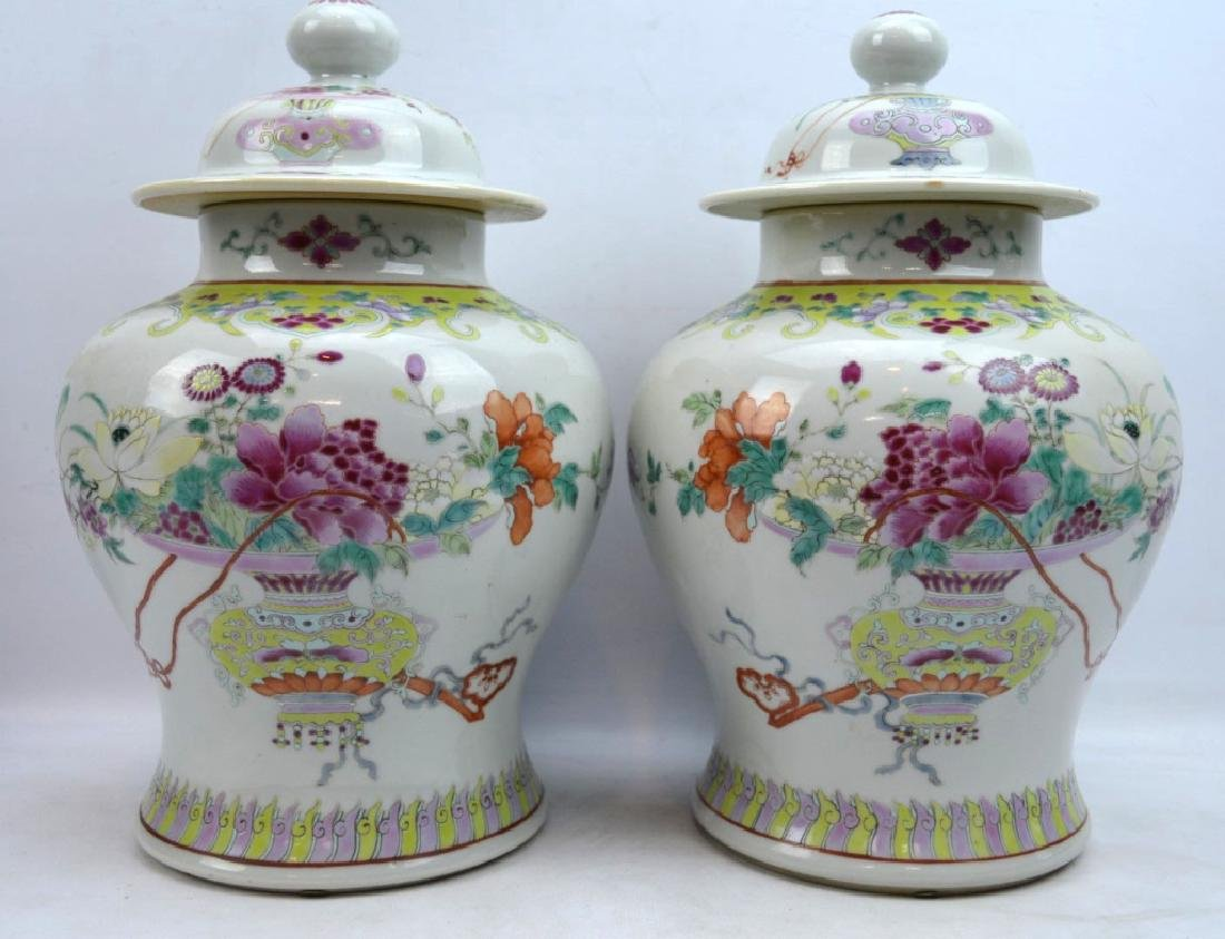 Pr Late Qing Chinese Famille Rose Porcelain Urns
