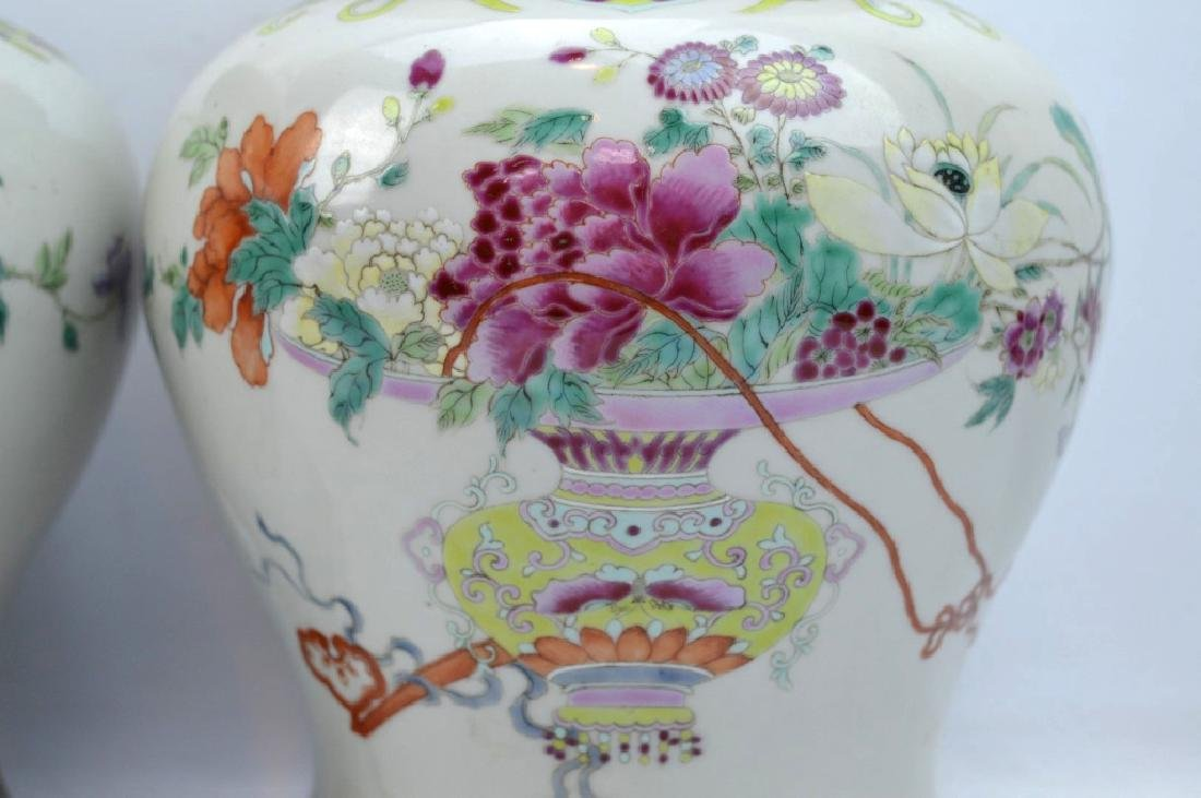 Pr Late Qing Chinese Famille Rose Porcelain Urns - 2