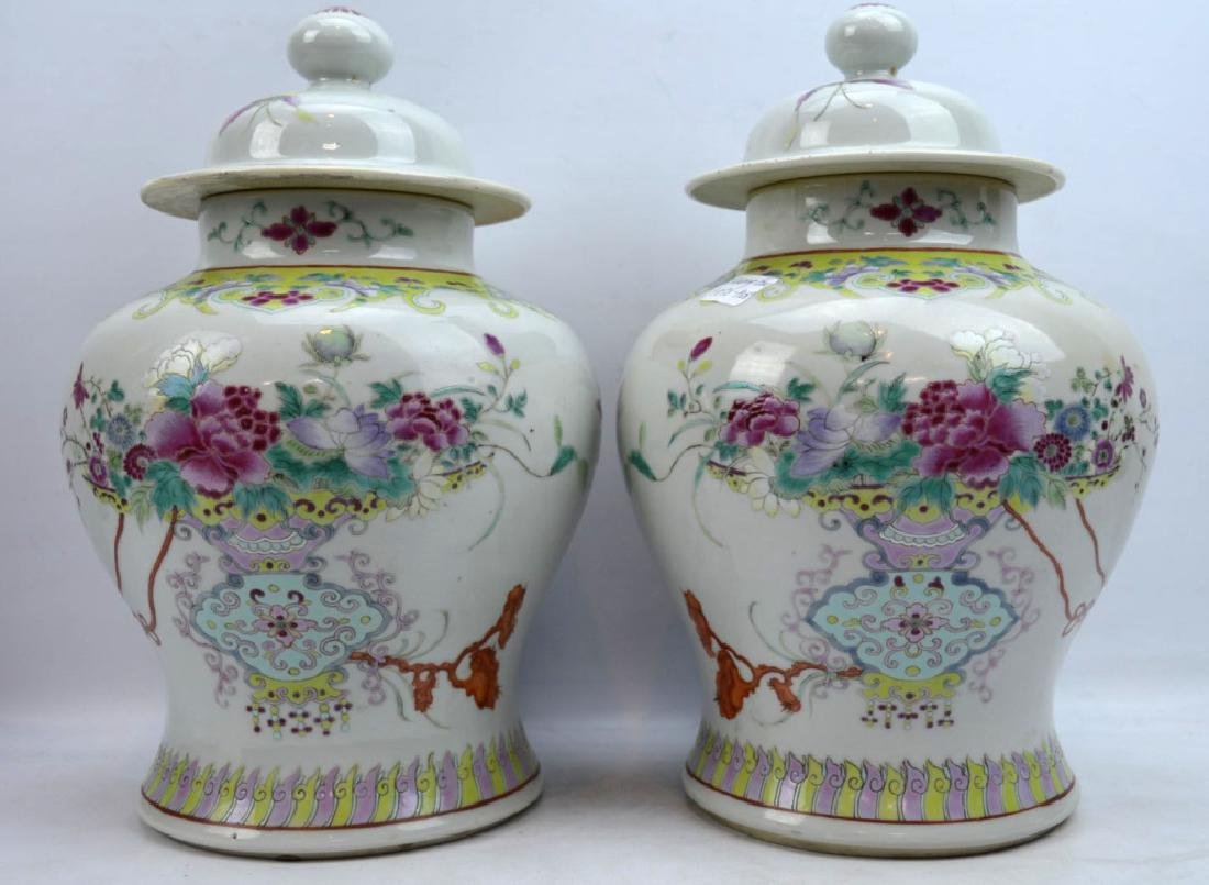 Pr Late Qing Chinese Famille Rose Porcelain Urns - 3
