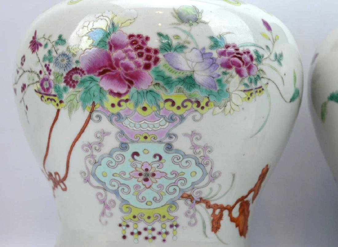 Pr Late Qing Chinese Famille Rose Porcelain Urns - 4