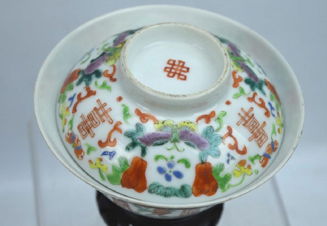 19th C Chinese Enameled Porcelain Tea Cup & Cover - 3