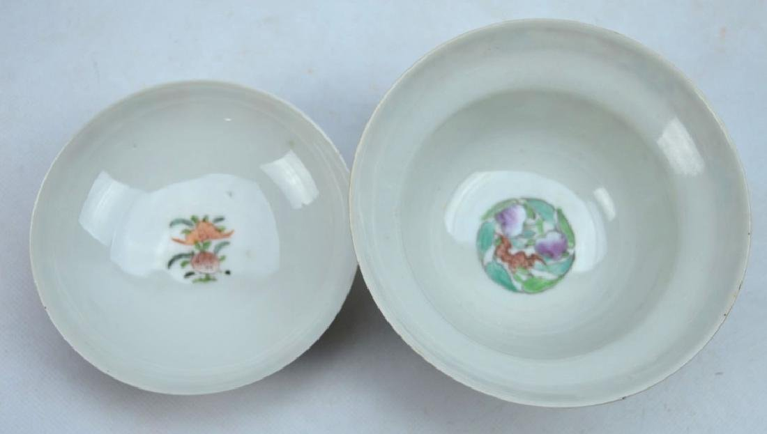 19th C Chinese Enameled Porcelain Tea Cup & Cover - 4