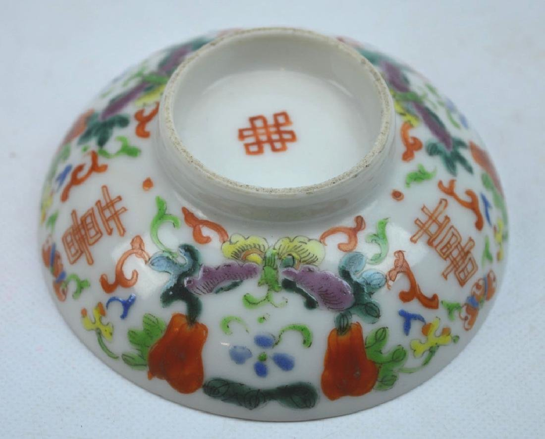 19th C Chinese Enameled Porcelain Tea Cup & Cover - 8