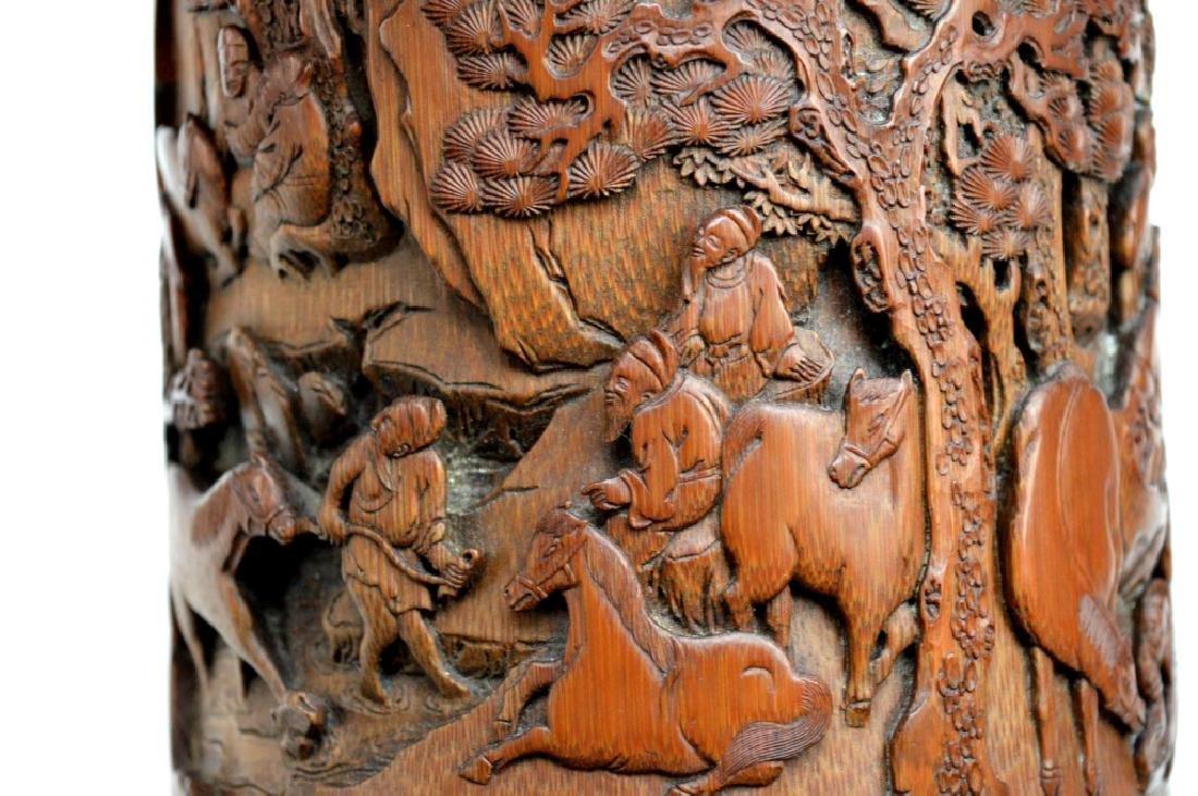 Finely Carved Bamboo Bitong w Horses Signed Li Fu - 10