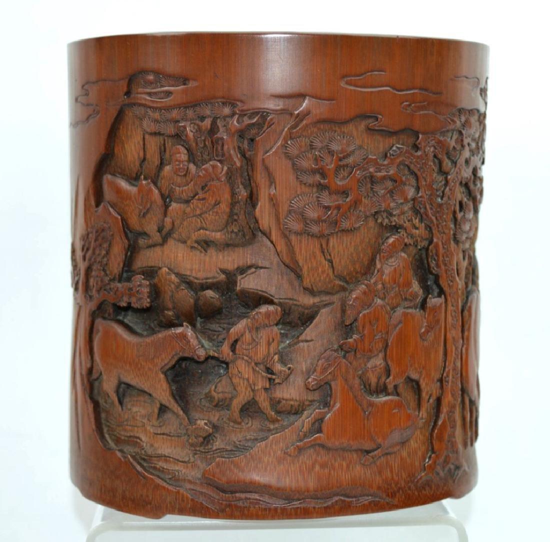 Finely Carved Bamboo Bitong w Horses Signed Li Fu